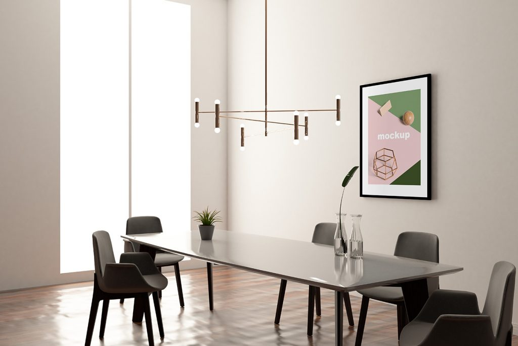 modern office interior design meeting room black table and chairs fancy light fixture