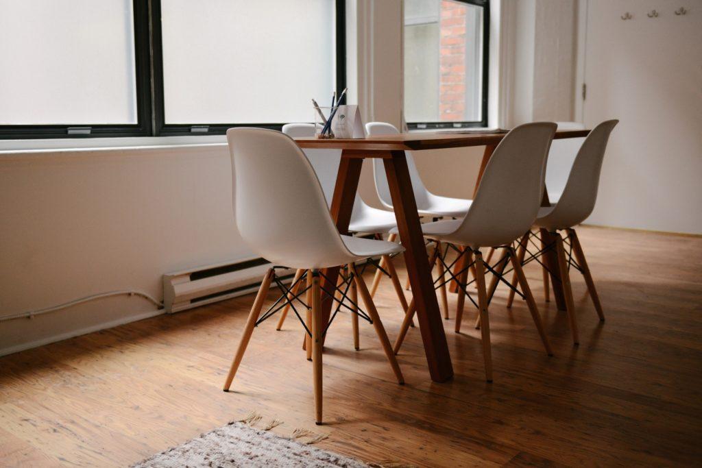 modern office interior design brown desk, chairs