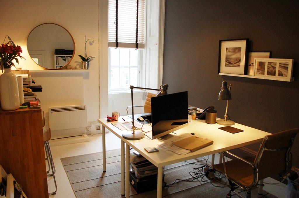 small-office modern interior design white desk chair